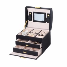 3 Layers Jewelry Display Box Exquisite Makeup Case Box Organizer Display Storage Gift PU Leather Double Drawers Mirror Storage B(China)