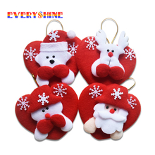 Mixed Send 4pcs/lot Red Heart-shaped Santa Decoration Pendants Christmas Tree Hanging Ornaments Indoor Decorative Supplies SD27
