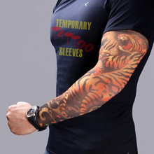 2pcs Fake Tattoo Elastic Arm Sleeve Arm Stockings Sport Skins Sun Protective Waterproof Unisex Shoulder Tattoo Sleeve drop shipp(China)