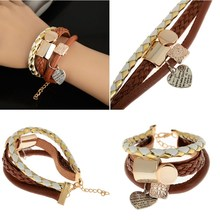 LNRRABC New Fashion Alloy Leather Multilayer Heart Design Rope Chain Cute Infinity Charm Wrap Women Bracelet Jewelry(China)