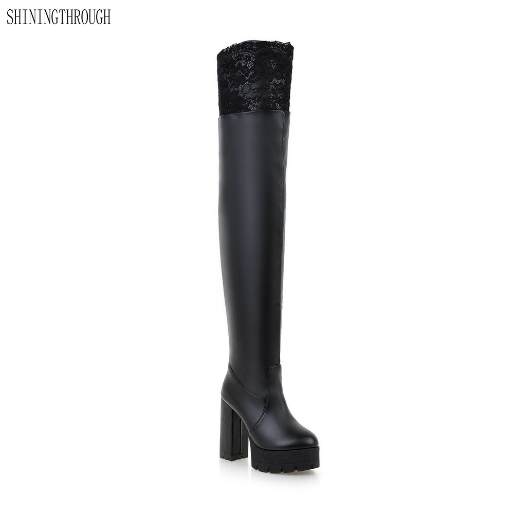2018 New winter women boots high heels boots woman sexy over the knee high boots dress shoes woman large size 34-43<br>