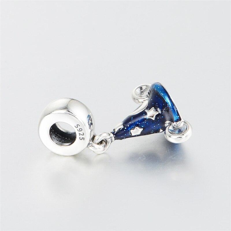 Custom S925 sterling silver cartoon scrcerer hat dangle beads of european women DIY Bracelet bangle,necklace Jewellery gifts (14)