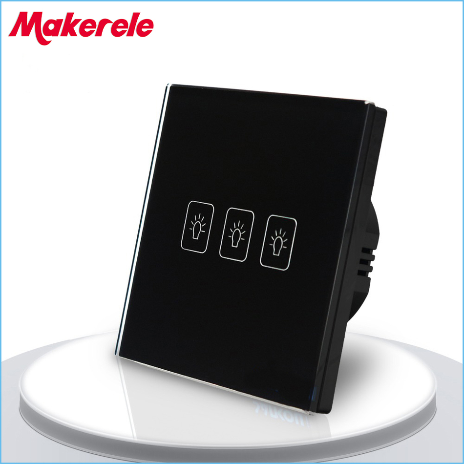 Touch Switch EU Standard 3 Gang 2 Way Light Switch Touch Screen wall switch wall socket for lamp<br>