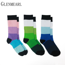 5 pair/Lot Cotton Men Socks Quality Brand Spring Fall Business Compression Coolmax Funny Striped Colorful Happy Dress Male Socks(China)