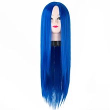 Fei-Show Middle Part Line Wig Synthetic Long Straight Blue Hair Heat Resistant Fiber Female Peruca Costume Cosplay Hairpieces