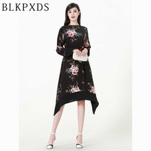 6XL 2018 Fashion Black Floral Flower Print Women Plus Big Size Islamic Clothing with Belt Muslim Arab Dubai Middle East Ramadan(China)