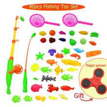 40pcs/lot Magnetic Fishing Toy For Kids Gifts Children Fish Rod Net Model Play Fishing Games Outdoor Toys Spinner As Gift