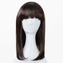 Fei-Show Medium Wavy Wig Synthetic Heat Resistant Fiber Flat Bangs Dark Brown Children Hair for 44 CM Head Circumference