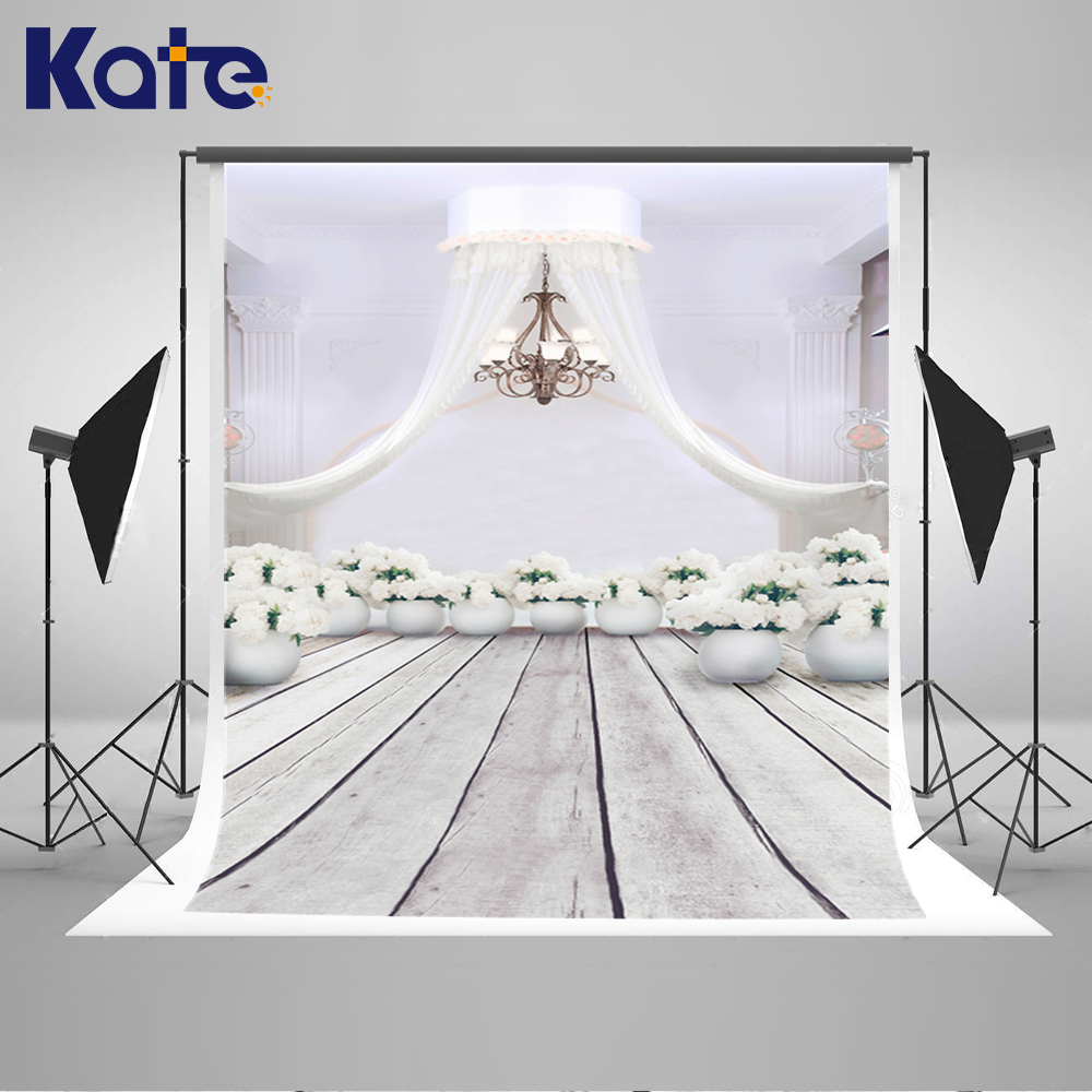 Kate Indoor Wood Floor White House Wedding Photography Backdrops Flowers Chandelier Valentine Backdrops For Photography Studio<br>