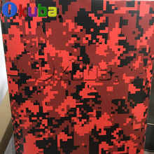 Big Pixel Military Camouflage Pattern Digital Red Tiger Army Vinyl Wrap Film Truck Vehicle Camo Decal Film Sheet 1.52X30m/roll