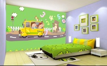3d wallpaper custom photo non-woven mural picture cartoon school bus decoration painting 3d murals wallpaper room