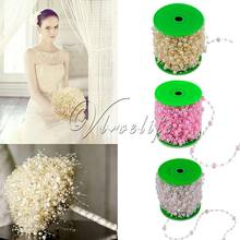 1 Roll Of 60 Meters Fishing Line Artificial ABS Pearl Beads Chain Garland Wedding Party Decor Hair Accessories Ivory/Pink/White(China)