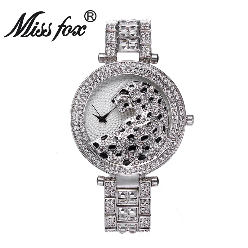 Miss Fox Fashion Women Watch Bling Crystal Diamond Leopard Luxury Watches Rhinestones Ladies Quartz Watch Female Gold Watch