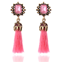 H3 New Arrival Vintage Pearl Long Tassel Drop Earrings Pink Red Blue White Crystal Drop Earrings Wholesale Hot Fashion Jewelry