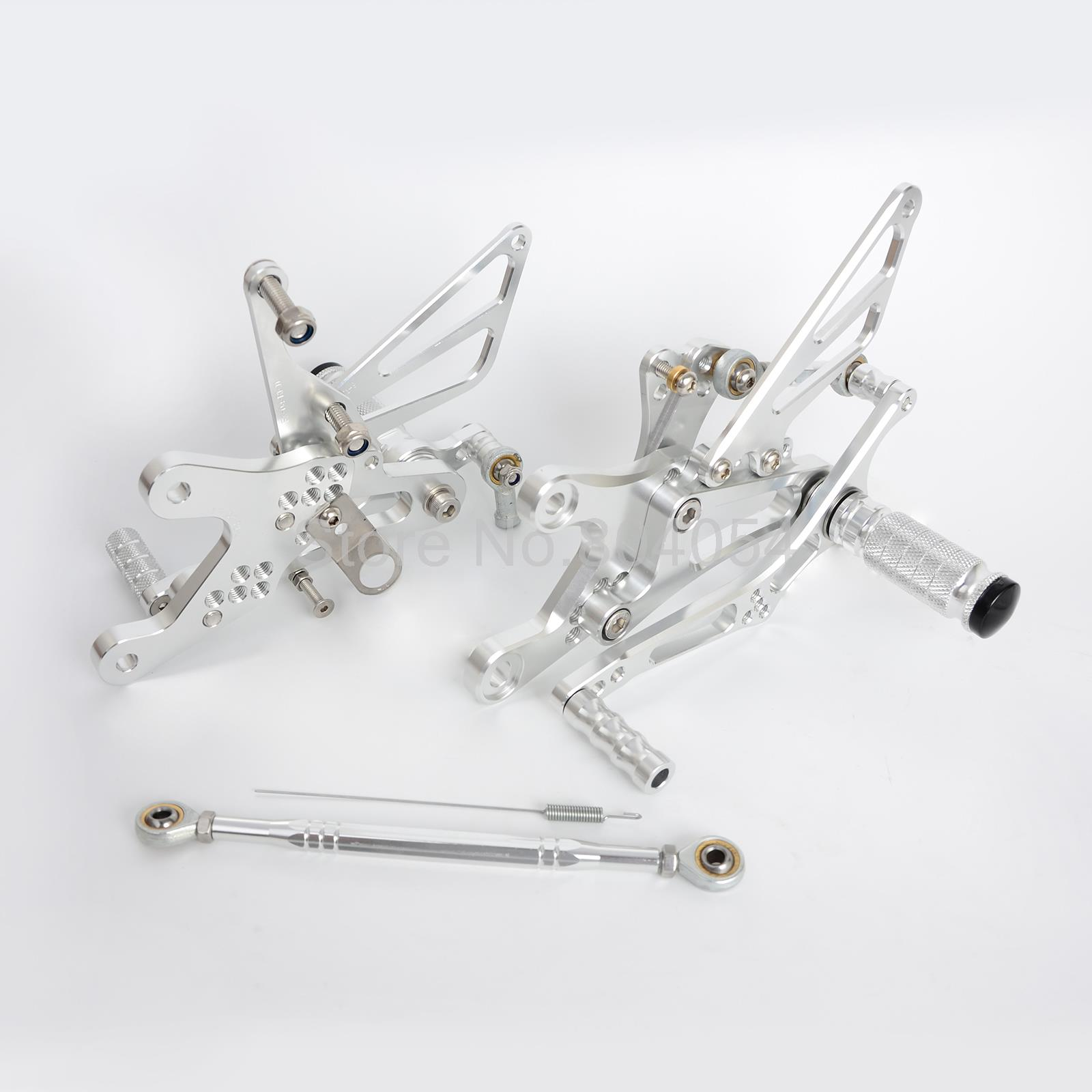New Silver CNC Adjustable Foot pegs Rearset Footrests Rear Sets For Yamaha YZF-R6 1999 2000 2001 2002<br><br>Aliexpress