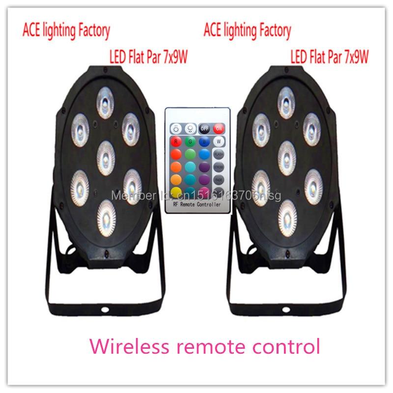 2 pieces Promotional Packaging Wireless remote control LED Par Tri 7X9W RGB<br>