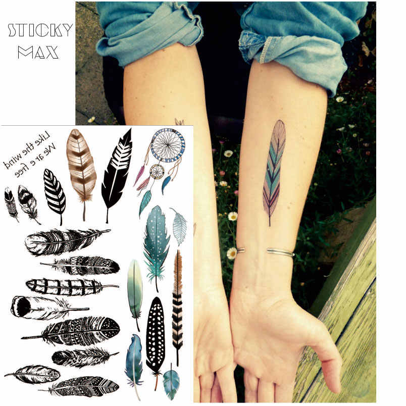 7779e1f16 W10 1 Piece Chic Boho Feather Non-toxic Tattoo with Dream Catcher Designs Fake  Tattoos