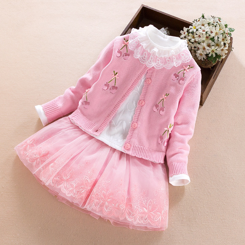Free shipping 100% cotton top quality baby sweater dress set,2017 lovely girls dress 3 pcs per set cherry princess dress <br>