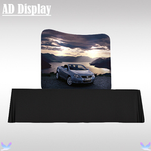 6ft Table Top Aluminum Frame With Single Side Stretch Banner Printing,High Quality Tension Fabric Curve Exhibition Display Stand