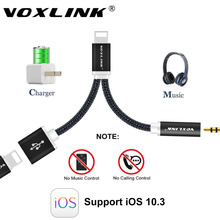 VOXLINK 12cm Earphone Audio Cable For iPhone 7 7 Plus 2 in1 8 Pin to 3.5mm Headphone Jack Adapter Charger Cable(China)
