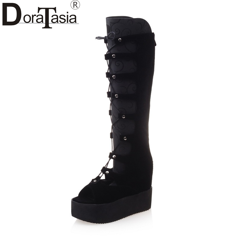DoraTasia 2018 large size 34-43 black brand shoes woman fashion peep toe platform wedge high heels summer boots woman shoes<br>