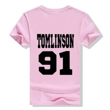 Free Shipping Tomlinson 91 Louis Tomlinson t shirt One Direction Directioner pop rock 1D Tee Women Basic tops T-F10316