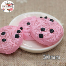 10PCS pink cookies biscuit Dessert Resin Flat back Cabochon Miniature food Art Supply Decoration Charm