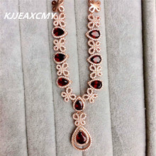 KJJEAXCMY boutique jewelry,Natural garnet female Necklace inlaid custom made wholesale S925 Silver(China)