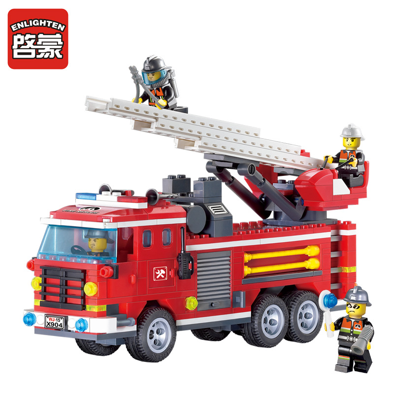Enlighten 904 Fire Rescue Three Bridge Fire Truck Building Blocks Set Firemen  figures Kids Educational Toy lepin Compatible<br><br>Aliexpress