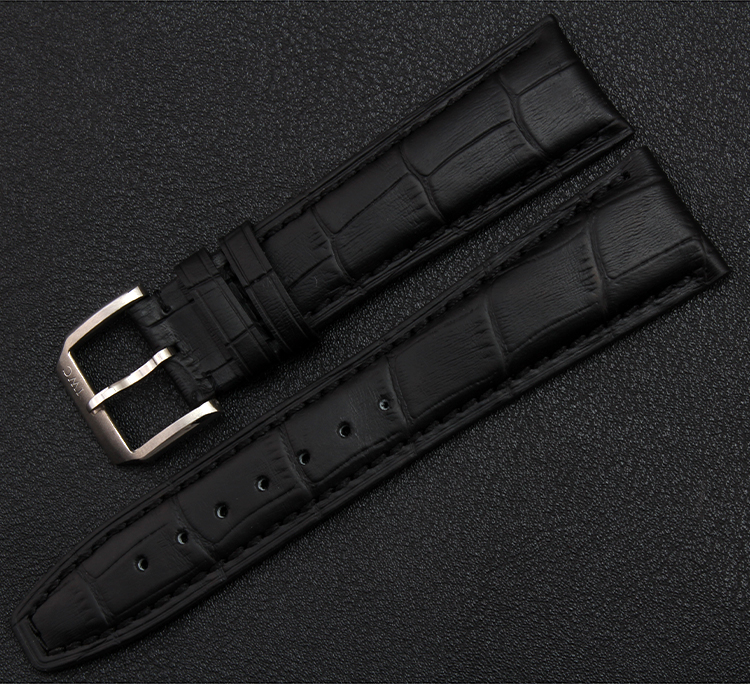 Black Leather Watchband Genuine Straps Bracelet With Silver Pin Buckle The Crocodile Grain High Quality Watch band Accessories<br><br>Aliexpress