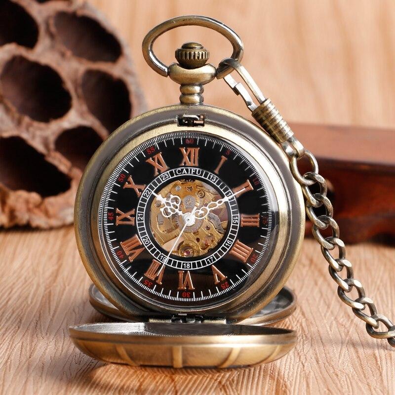 Vintage Silver Roman Number Mechanical Hand Wind Pocket Watch Double Open Hunter Case Fob Steampunk Pendant Retro Bronze<br><br>Aliexpress