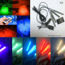 Wireless Remote/Music/Voice Control Car RGB LED Neon Interior Light Lamp Strip Decorative Atmosphere Lights 2 Styles For Choose
