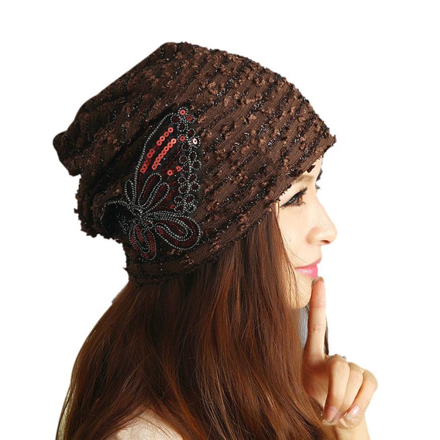 Stylish 2015 New designs Winter 1Pcs Women Coffee Lace Butterfly Hat Adjustable Skullies Beanies Turban Cap for girls nice giftsÎäåæäà è àêñåññóàðû<br><br><br>Aliexpress