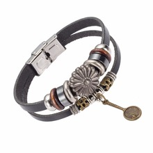 Import Jewelry From China Handmade Vintage Metal Racket Charm Leather Bracelet(China)