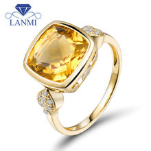 Hot selling 18k Yellow Solid Gold Gemstone Citrine Engagement Rings Cushion Cut Fine Jewelry for Women Birthday Gift WU305C(China)