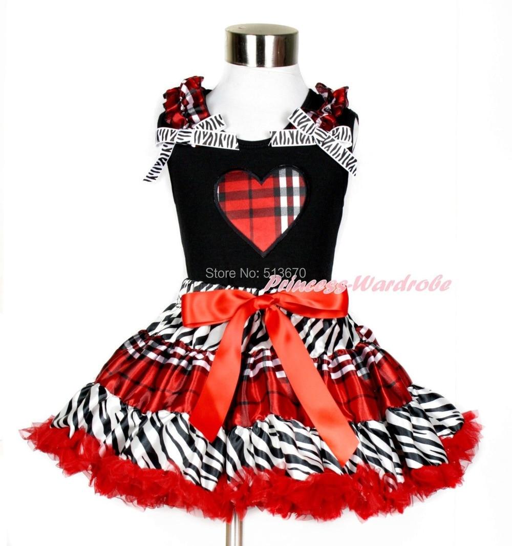 XMAS Valentine Check Heart Black Tank Top Zebra Red Black Plaid Skirt Set 1-8Y MAPSA0209<br>