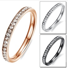 Cubic Zirconia Eternity Wedding Band Cute Stainless Steel Crystal Pinky Rings for Women