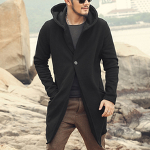 Autumn winter long stretch cotton fleece 2017 men coat men slim casual fashion thick black cardigan with hat men European style(China)