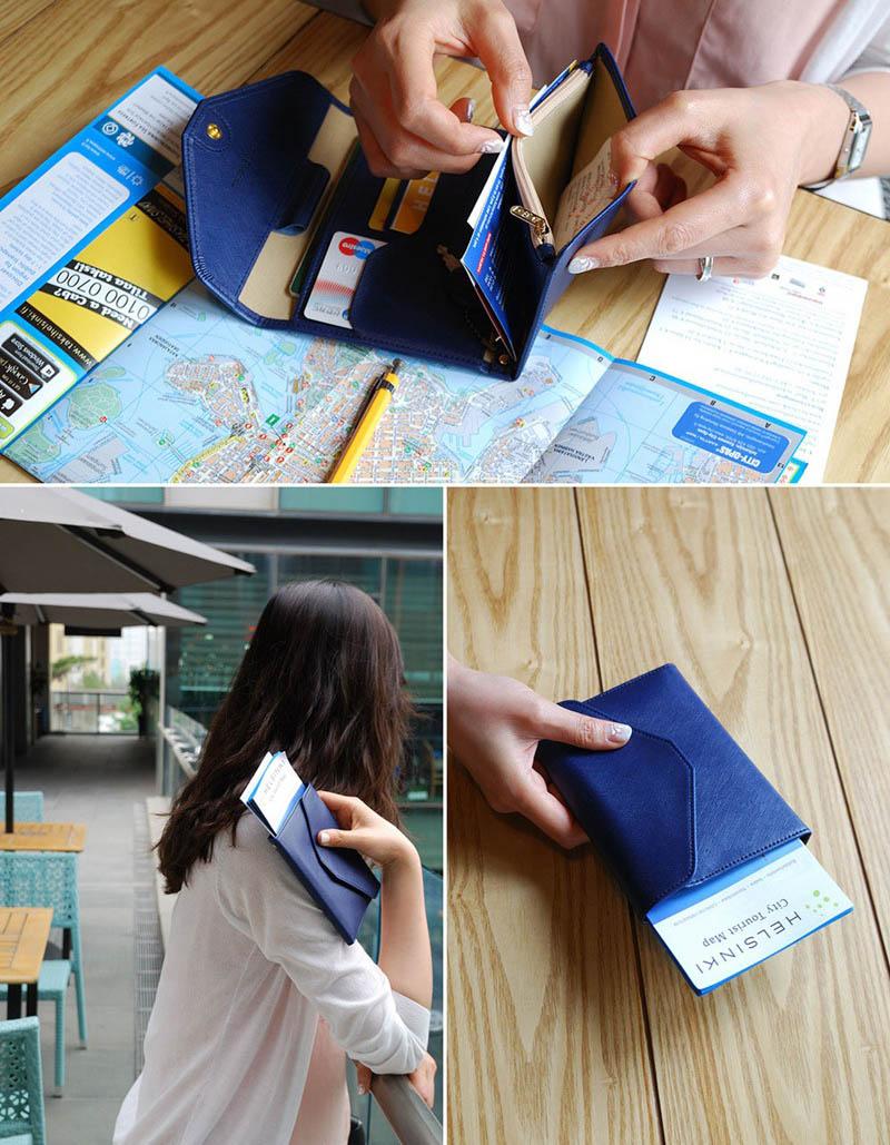 Reispaspoort Cover Opvouwbare Creditcardhouder Geld Portemonnee ID Multifunctionele Documenten Vlucht Bit Licentie Portemonnee Tas PC0045 (4)