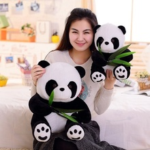 16cm6.4inch Wholesale New Bamboo Leaves Panda Plush Toy Cute Children Present Animal Doll 2pcs/lot(China)