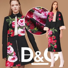 Printed rose couture fashion fabric, jacquard floral, black, sewing for top, jacket, coat, dress, pants, craft by 145 cm*96 cm