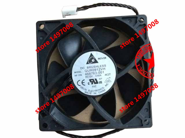 Free Shipping For DELTA  QUR0912VH, -8C2T DC 12V 0.60A,  4-wire 4-pin 90mm 90x90x25mm Server Square cooling fan<br>
