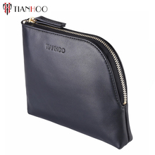 TIANHOO Women Genuine Leather Makeup Bag Professional Cosmetic Cases Black Color Phone Pouch Clutch Bag