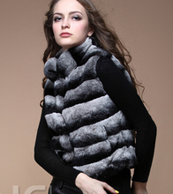 REROYFU Best Quality Genuine Furs Vests Woman Real Chinchilla Rex Rabbit Fur Coat For Women's Natural Fur Jacket Waistcoat(China)