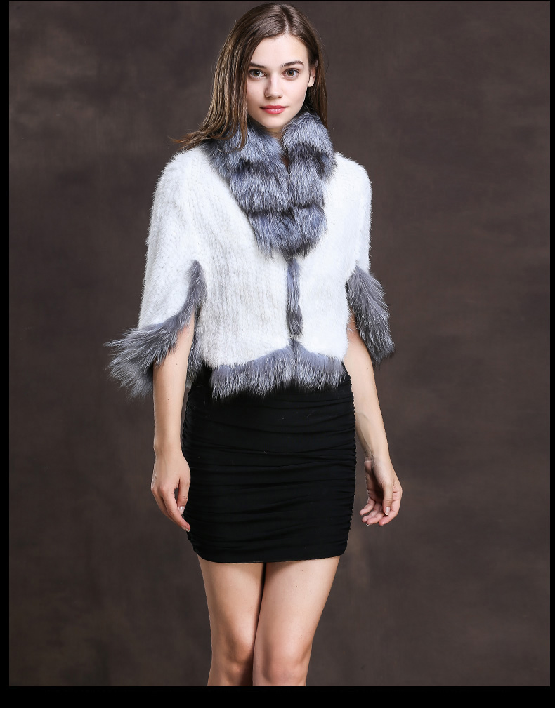 Winter Shawl Wrap Poncho Real Knit Mink Fur shawl With Fox Trimming Real fur Jacket coats party 2017 new (20)