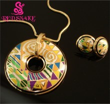 RED SNAKE Hot Sale! Great Value Brand Product Gold-color Enamel Jewelry Sets with Colorful Necklace and Earrings(China)