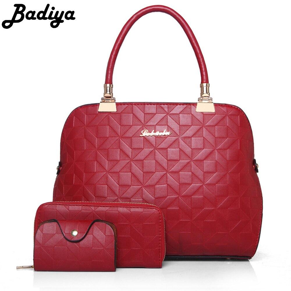 Badiya Famous Brand Handbag Ladies Solid Pu Leather Shoulder Bag Women Luxury Composite Bags 3pcs(handbag+wallet+card holder)<br>