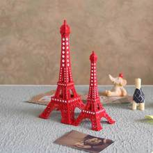 13cm Red Painted Eiffel Tower Figurine With Rhinestone
