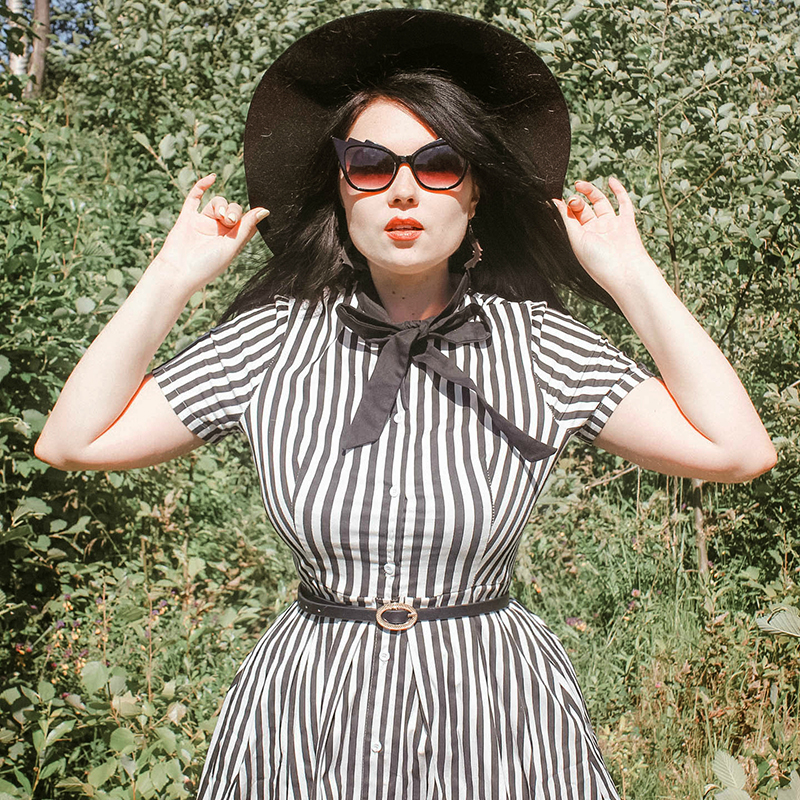 Rosetic Vintage Stripe Midi Dress Women Summer 50s Bow Collar Elegant Office Casual Stylish Goth Ladies Retro Rockabilly Dresses 2