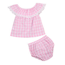 Princess Plaid Pink Clothing Kids Toddler Baby Girls Summer Clothes T-shirt Tops+Shorts Pants 2PCS Set